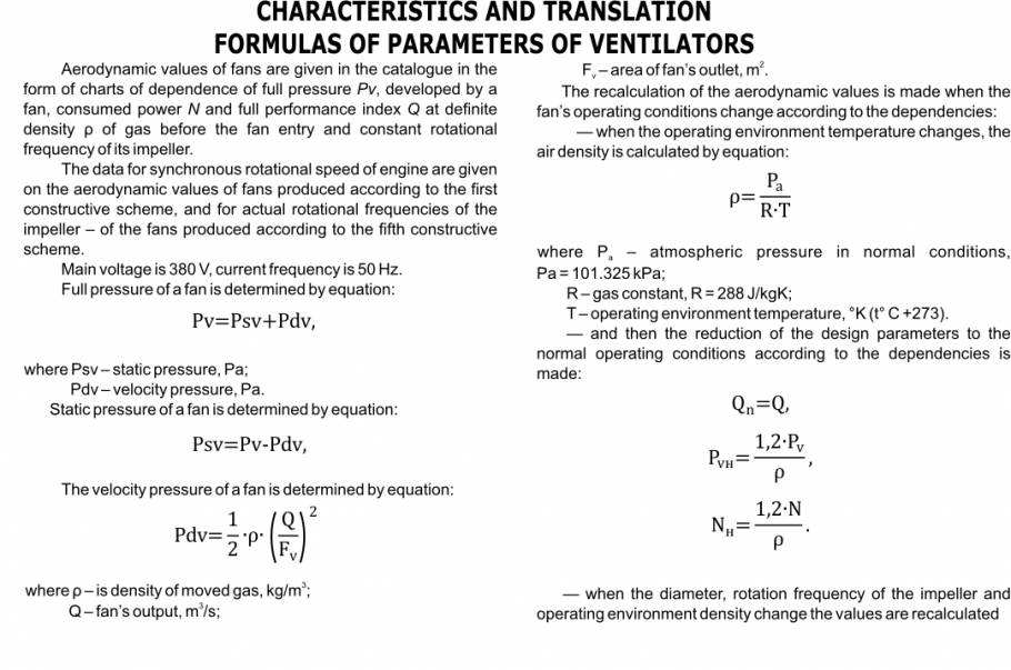 Characteristics and translation formulas of parameters of fans
